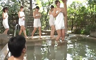 Outdoors movie be advisable for one dude fucking lots be advisable for Japanese cuties