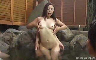 Skinny Asian unshaded enjoys getting fucked in burnish apply nurture pool
