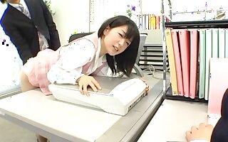 Wild fucking on the office table with horny secretary Nana Nanaumi