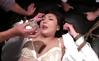 Asian spinner crazy gangbang with vibrators