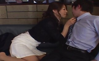 Smooth fucking on be passed on leather sofa with an appealing Japanese girl