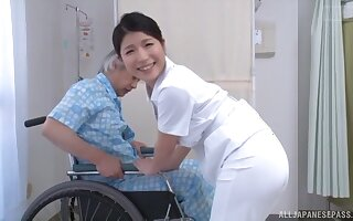 Asian nurse drops her panties to detest fucked by a lucky instance