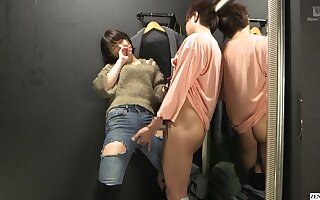 Japanese attire shop changing room sex with employee