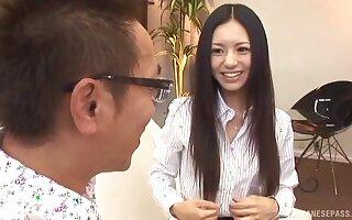 Skinny Japanese babe Aino Kishi enjoys riding a stiff the greater part