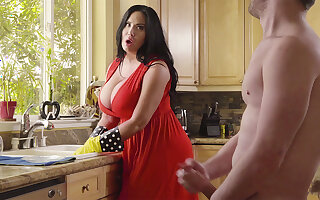 During cleaning stepson cash-drawer his big-chested stepmom