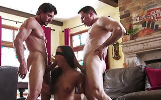 Kalina Ryu gets blindfolded before zooid fucked in MMF threesome