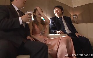 Closeup video of sexy Japanese Erika Kitagawa possessions fucked wide of 2 guys