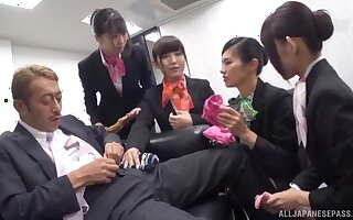 Wild office sex party with lot of stunning Japanese ladies