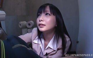 POV video of dirty Japanese slut Tsumugi Serizawa giving a head