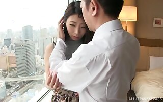 Quickie fucking on the bed with nice ass Japanese amateur babe