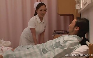 Cute Japanese nurse takes off her uniform to ride her patient