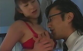 Hot ass Japanese babe in red lingerie opens her legs to ride