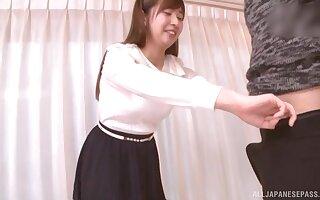 POV video of shy Japanese girl Makoto Sae giving a blowjob