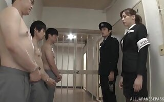 Nude Japanese guys enjoys getting a blowjob by sexy Aine Maria