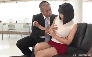 Hot Japanese can't wait to sit on a stranger's penis with her cunt