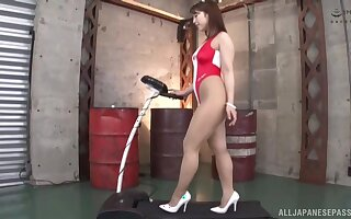 Good looking Asian babe Hachino Tsubasa spreads her legs for a dick