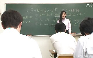 After a long day Namiki Touko is ready to take a penis in the classroom