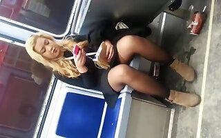 train upskirt on chubby girl